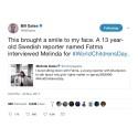 Bill och Melinda Gates twittrar om intervju i SvD Junior
