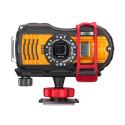 Ricoh WG-5 GPS, orange framifrånmed tillbehör