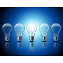 Fem lyspærer på rad
