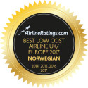 ​Norwegian Named Europe's Best Low Cost Airline by AirlineRatings.com for Fourth Consecutive Year