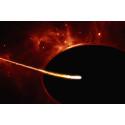 Close-up of star near a supermassive black hole (artist's impression)