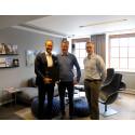 Eirik Thrygg (t.v.), adm. direktør i Höegh Eiendom, Bjørn Sikkeland, regionleder i Asker Entreprenør AS og Stig Nilsson, prosjektleder i Höegh Eiendom.
