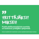 Etelä-Suomen nuoret haluavat yrittäjiksi