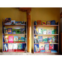 A shelf of new learning materials at the Samsthanling Monastary