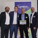 Auszeichnung Acco LEITZ, von links nach rechts: Marc Gebauer (Lyreco), Hans-Peter Drilling, Thomas Kaliner (beide Acco), Martin Bock (Lyreco)