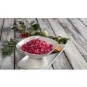 Polkagris av polkabeta - vegetariska varianter av traditionell julmat från Aviko.