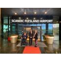 F.v. Ove Strømme, hotelldirektør på Scandic Flesland Airport, Birte Hevrøy og Rikke Ullmann.