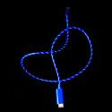 USB-kabel med synlig ström, blå