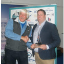 Hi-res image - Ocean Signal - Ocean Signal's James Hewitt receives the Gear Innovation award for the rescueME MOB1 from celebrated navigator and Sailing Today contributor Tom Cunliffe at the Sailing Today Awards 2017 presentation