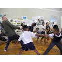Danse workshop på Peter Clarke Art Centre med den danske koreograf Peter Vadim. Foto: Charlotte Svendler.