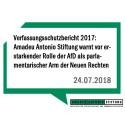 Verfassungsschutzbericht 2017: Amadeu Antonio Stiftung warnt vor erstarkender Rolle der AfD als parlamentarischer Arm der Neuen Rechten