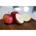 Rubinola – ett smakrikt svenskt äpple som nu kan köpas året runt.