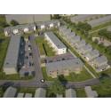 Översiktsillustration av det nya området BoKlok Kajen i Ängelholm, med radhus & kedjehus.