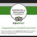 Stockholm Food Tours tilldelat Certificate of Excellence för 2015