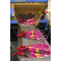 Monterade sprängkapslar kommer ut från en monteringsautomat i Oricas fabrik i Gyttorp