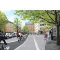 Visionsbild nya cykelbanorna Långholmsgatan