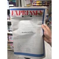 Tomma artiklar i Expressen under Pressfrihetens dag.