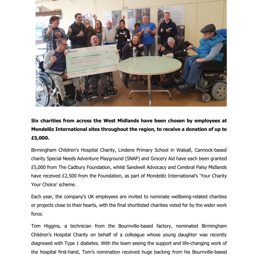 West Midlands charities receive £25,000 from The Cadbury Foundation - Press Release PDF Version