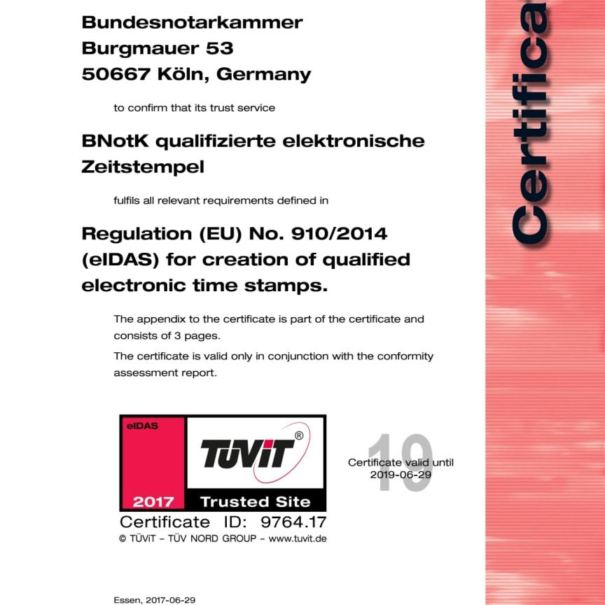 TÜV-IT Zertifikat Zeitstempel eIDAS BNotK