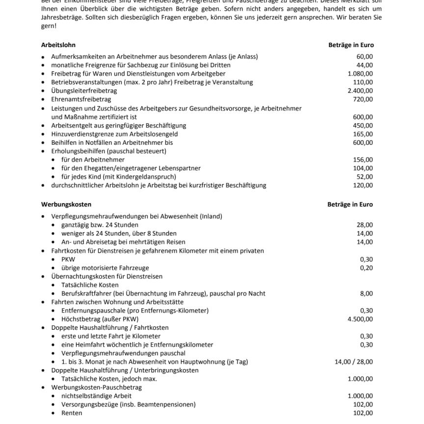 Wichtige Freibeträge, Freigrenzen und Pauschbeträge 2020
