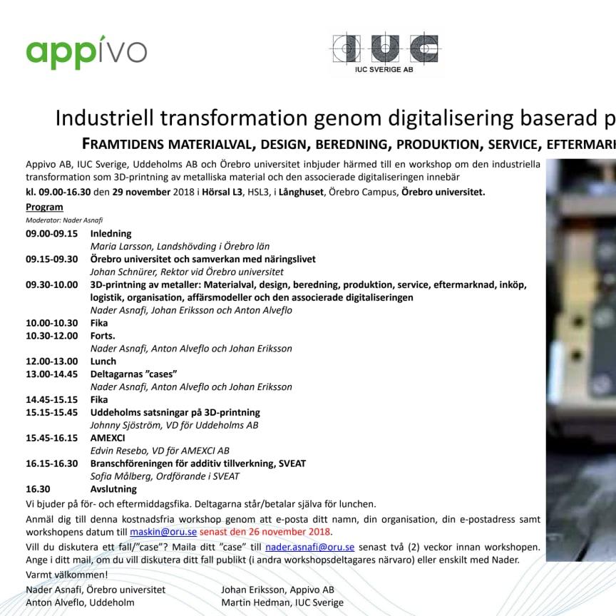 Industriell transformation genom digitalisering baserad på 3D-printing av metaller