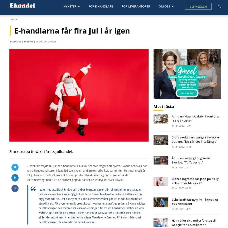 E-handlarna får fira jul i år igen