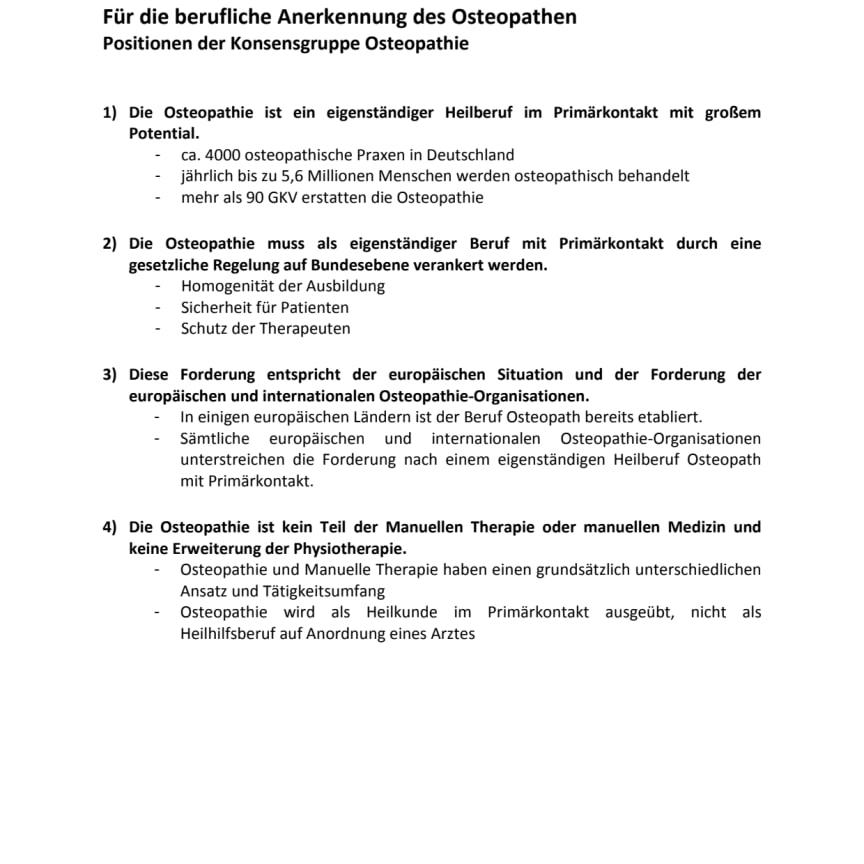 Positionspapier der Konsensgruppe zum Thema Berufsgesetz für Osteopathen