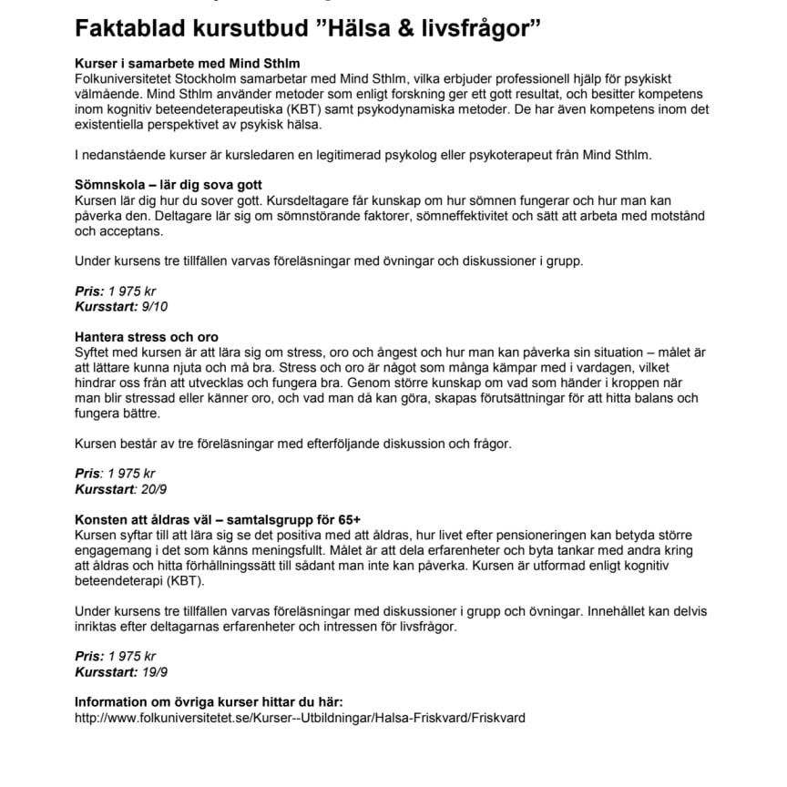 """Faktablad kursutbud """"Hälsa & livsfrågor"""""""
