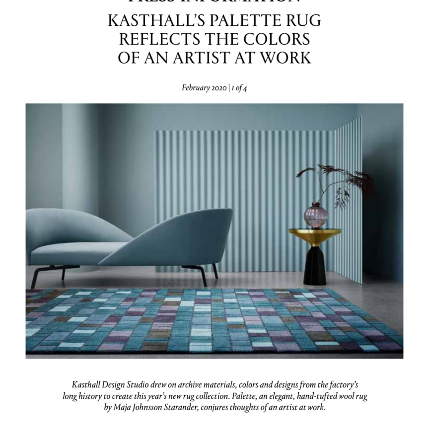KASTHALL'S PALETTE RUG REFLECTS THE COLORS OF AN ARTIST AT WORK