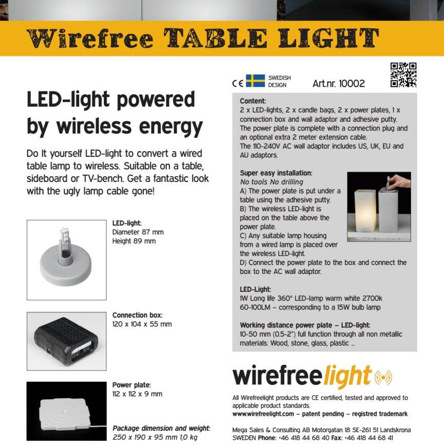 Wirefreelight - Trådlös el bordsbelysningskit. Produktblad.