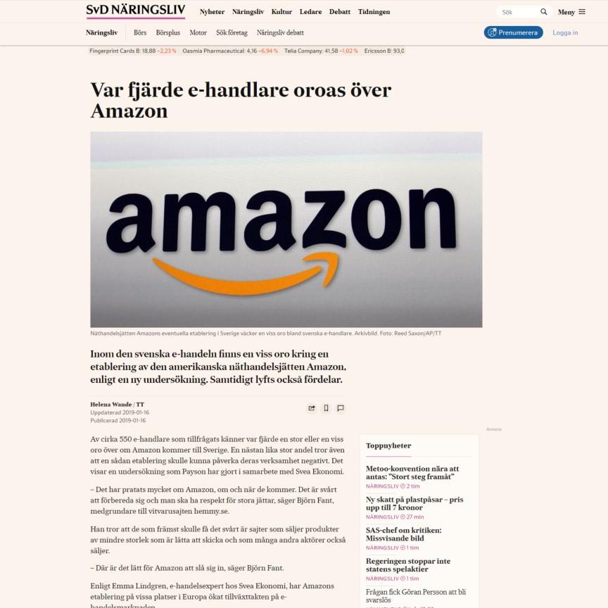 Var fjärde e-handlare oroas över Amazon