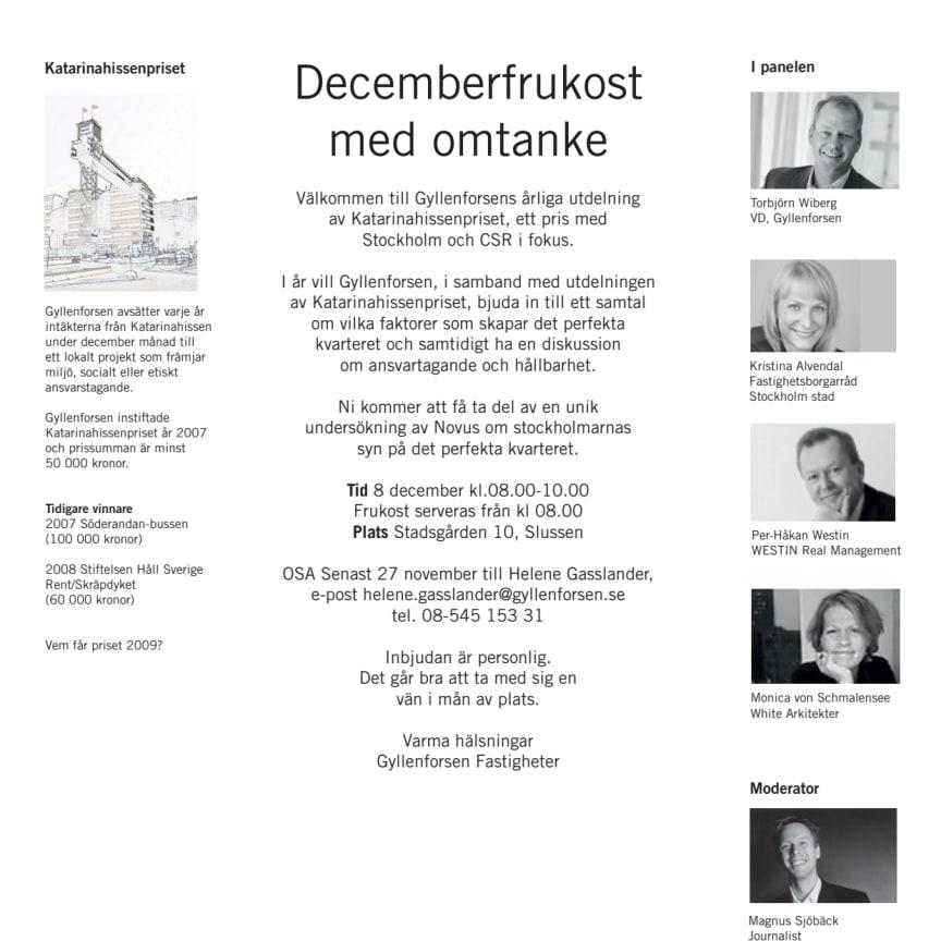 Inbjudan - Gyllenforsens decemberfrukost med omtanke