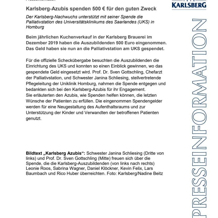 Presseinfo Karlsberg Azubis spenden an Palliativstation