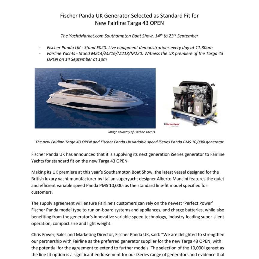 Fischer Panda UK Generator Selected as Standard Fit for New Fairline Targa 43 OPEN