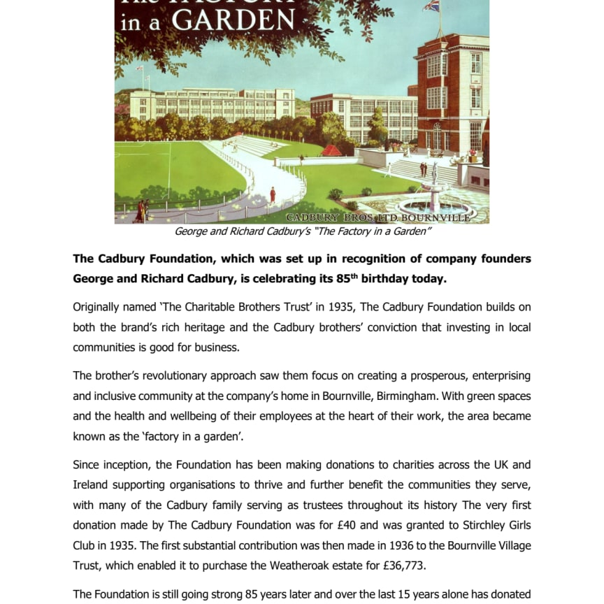 The Cadbury Foundation celebrates 85 years of giving - Press release PDF Version