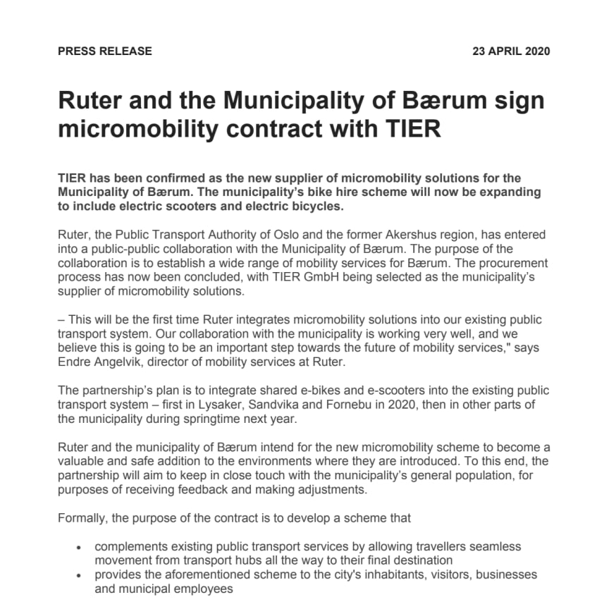 Ruter and the Municipality of Bærum sign micromobility contract with TIER