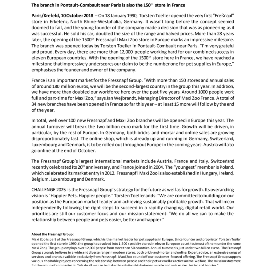 English Version of Press Release