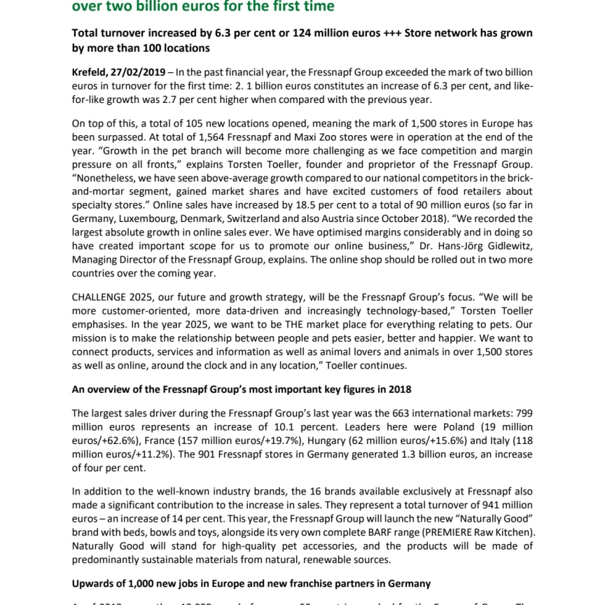 English Version of our press release