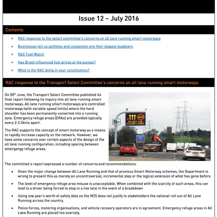 RAC Parliamentary Newsletter #12 - July 2016