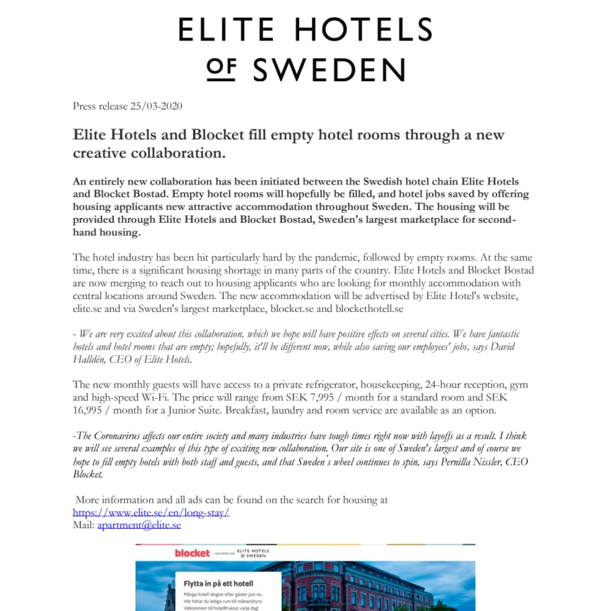 Elite Hotels and Blocket fill empty hotel rooms through a new creative collaboration.