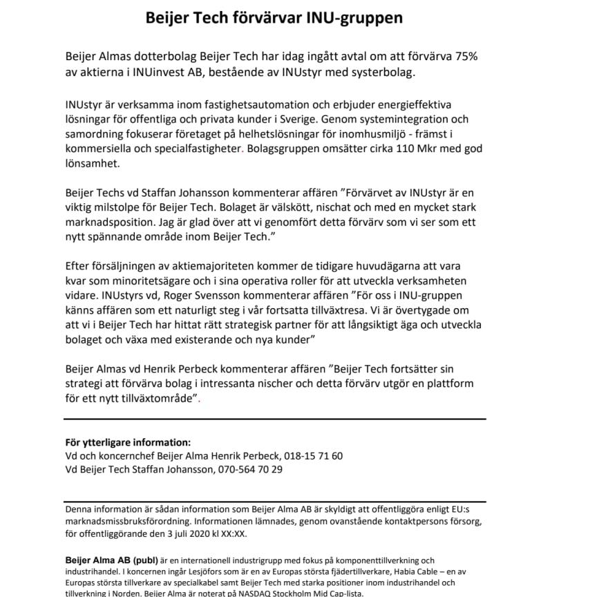 Pressrelease Beijer Tech 200703