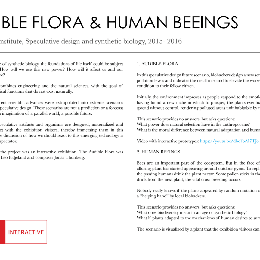 Biosynthetic possessions, Audible Flora och Human Beeings - Arbetsprover av Linnea Våglund