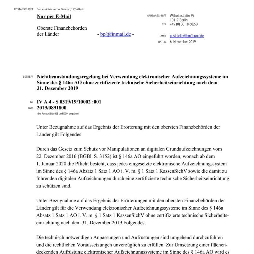 Nichtbeanstandungsregelung-Elektronischer-Aufzeichnungssysteme