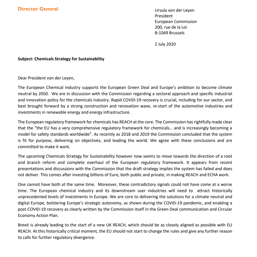 Joint letter to European Commission President on the Chemicals Strategy for Sustainability