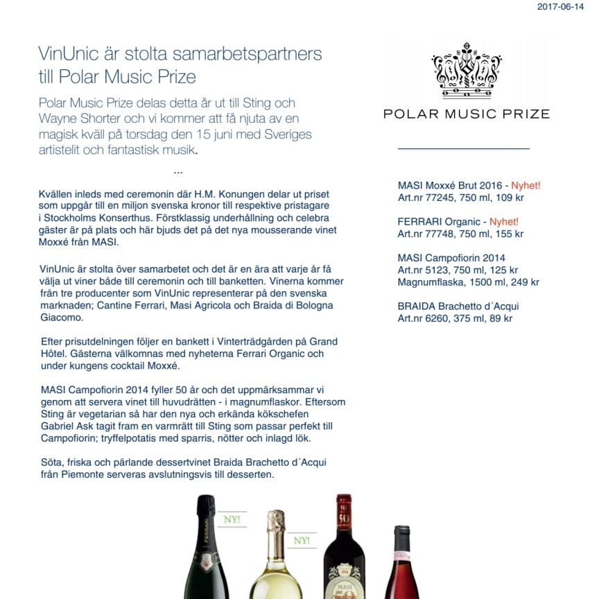 VinUnic är stolta samarbetspartners till Polar Music Prize