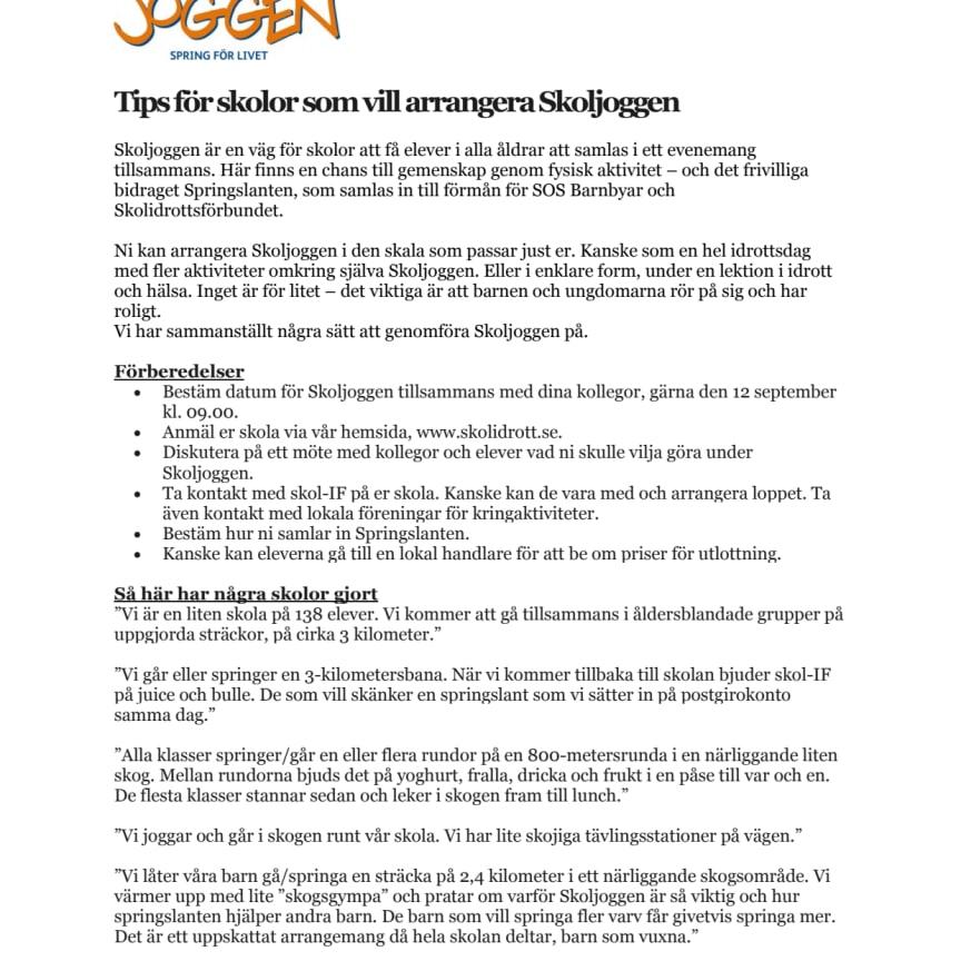 Tips för skolor att arrangera Skoljoggen