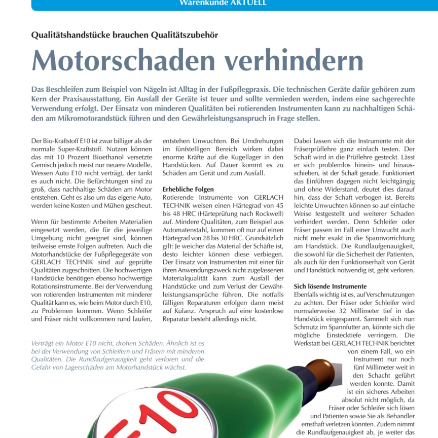 Motorschaden verhindern: Qualitätshandstücke brauchen Qualitätszubehör
