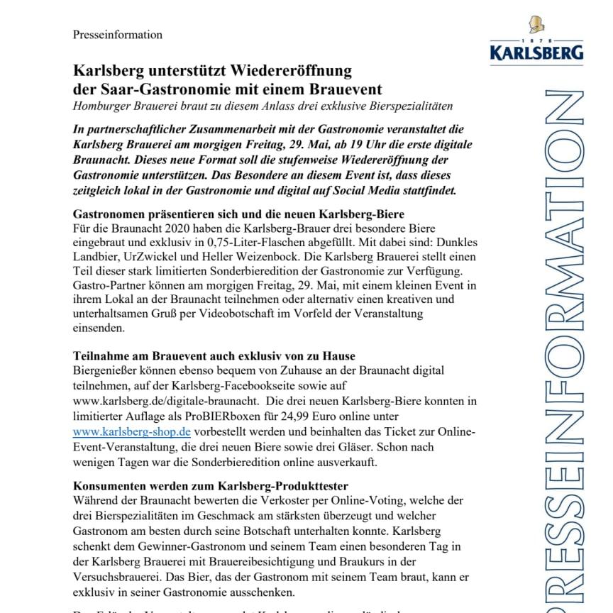 Presseinfo zur digitalen Braunacht der Karlsberg Brauerei