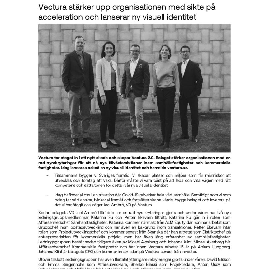 Vectura stärker upp organisationen med sikte på acceleration och lanserar ny visuell identitet