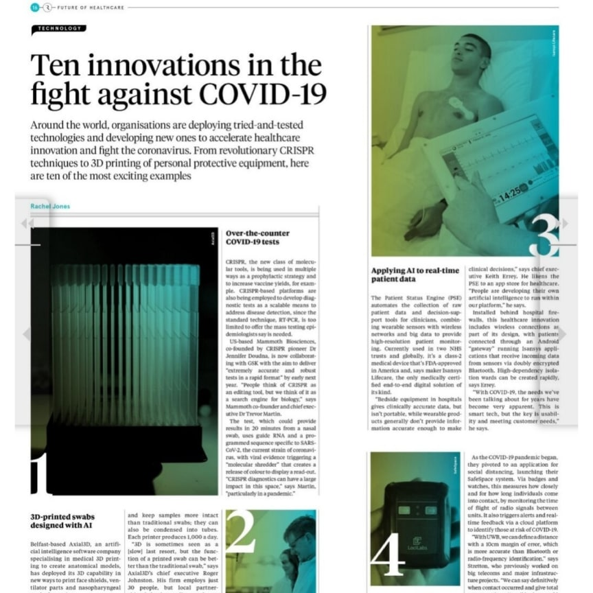 Isansys Lifecare has been named as one of the top 10 healthcare innovators in the fight against Covid-19